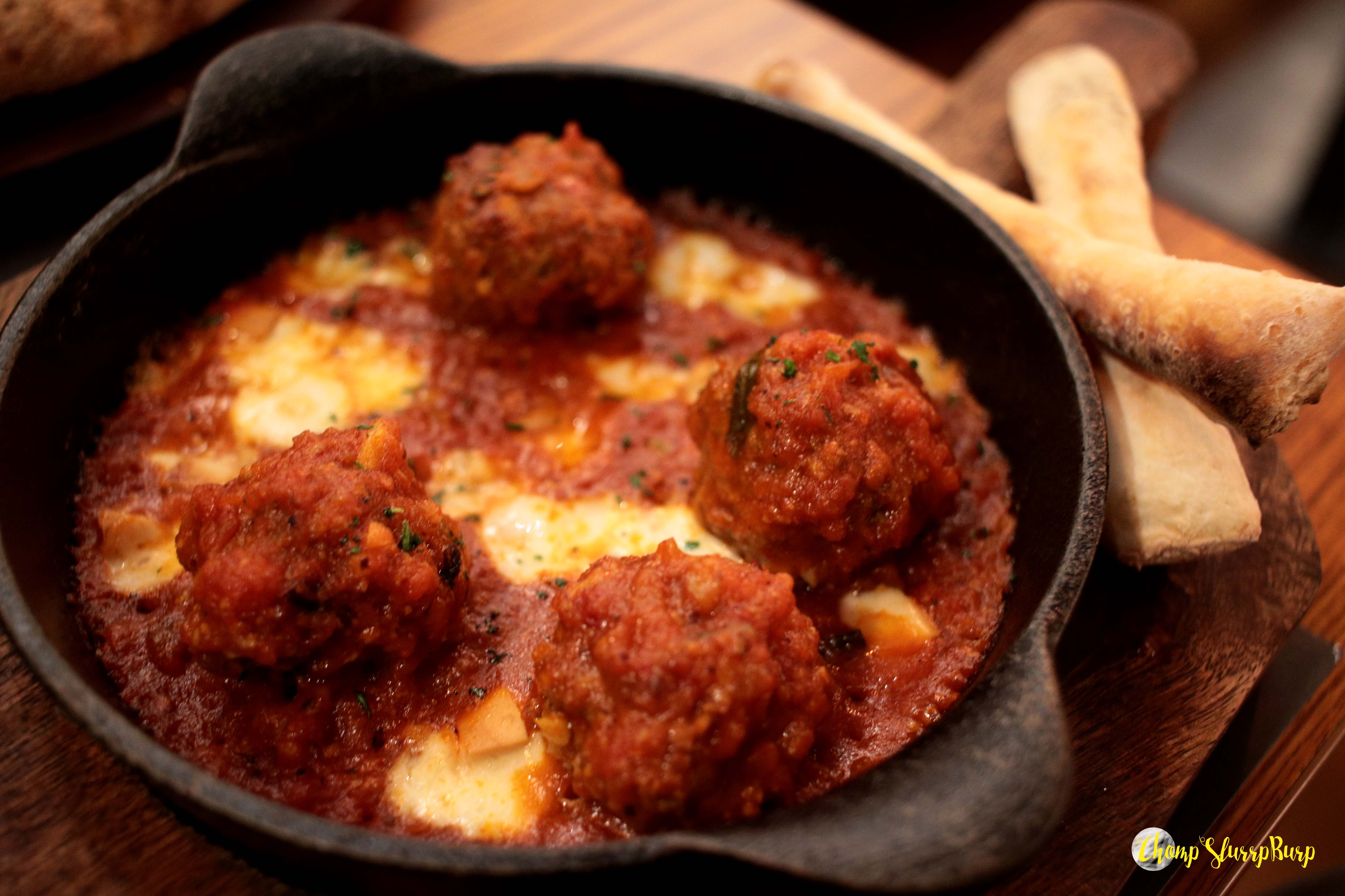 Meatball skillet at Evoo