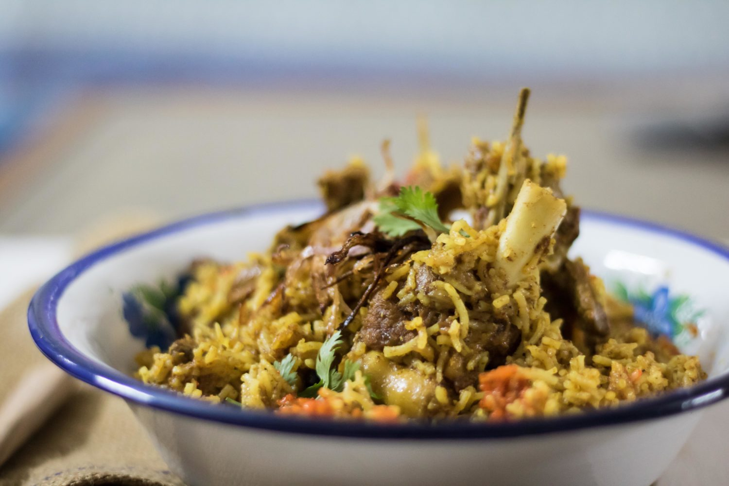Coconut milk mutton biryani