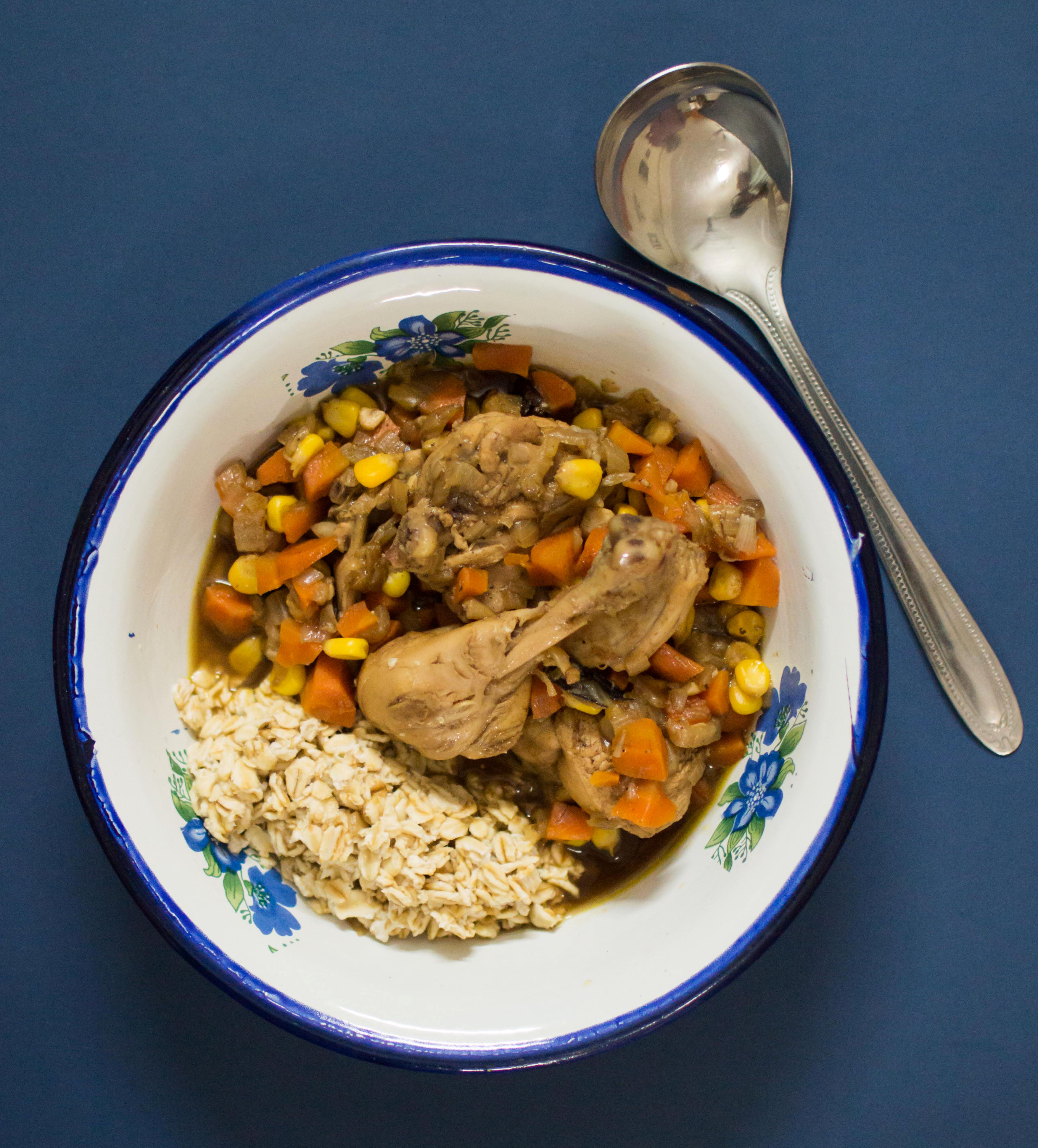 Chicken broth and oats buddha bowl