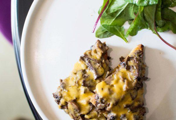 Cheese and mushroom toast